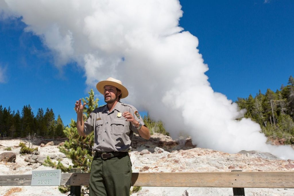 Geysers are the result of magma heating water that has seeped into the ground, triggering an eruption of liquid through vents in the Earth's surface for as long as dozens of minutes, followed by billowing steam that may last days. The steam phase of Steamboat Geyser is shown above in 2014.