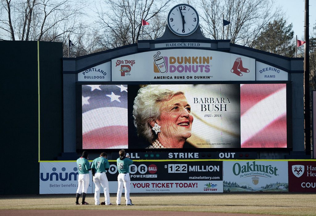 Barbara Bush was remembered with a moment of silence when the Portland Sea Dogs played the Hartford Yard Goats on  Wednesday.