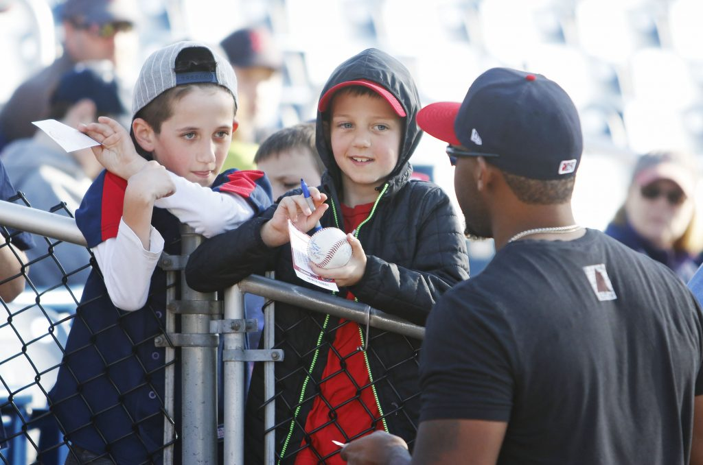 Spencer Carman, 9, and Nate Carman, 8, of Arlington, Mass., didn't get to see a baseball game Saturday afternoon because Hadlock Field was too wet. It wasn't a total loss, they did score an autograph from Sea Dogs first baseman Josh Ockimey.