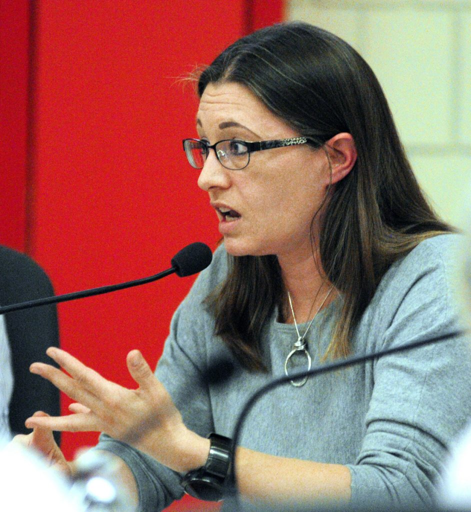 Town council Chairwoman Sarah Fuller, seen speaking during a council meeting on May 23, 2017, says the town is taking steps to protect itself from legal problems that could arise from complaints about the departing school superintendent, Gary Rosenthal.