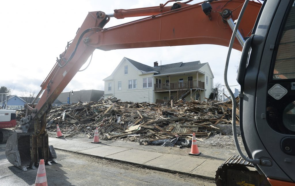 What remained Tuesday of The Griffin Club, a fixture of South Portland's Knightville neighborhood.