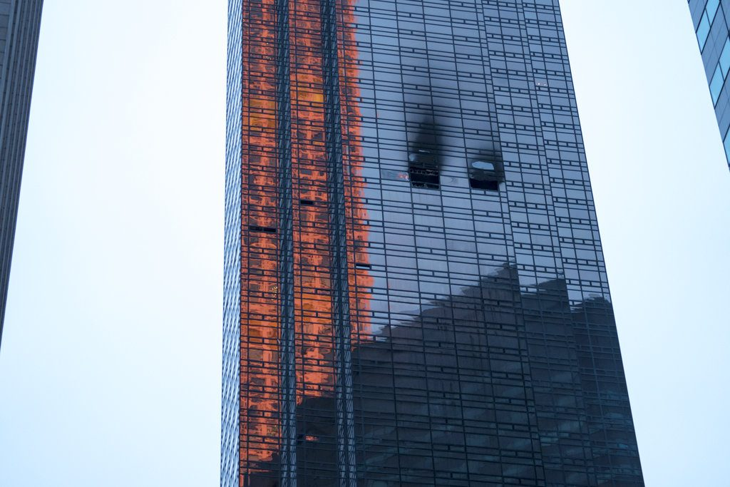 Damage at Trump Tower from the fire that broke out on the 50th floor shortly before 6 p.m. Saturday.
