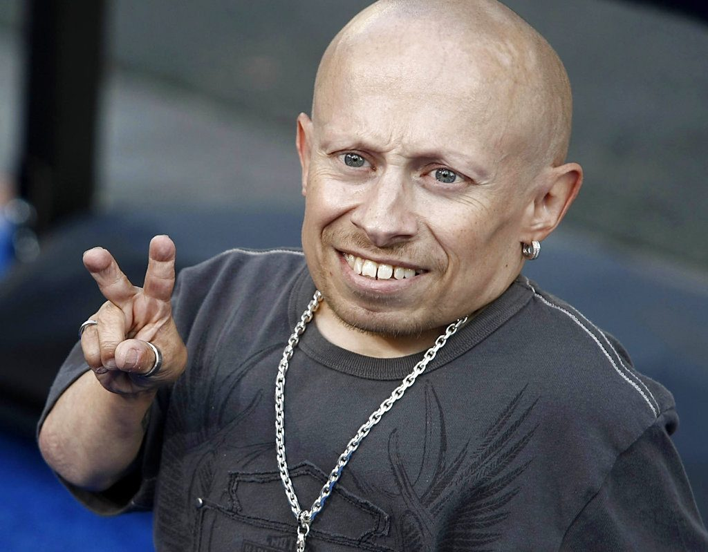 """Actor Verne Troyer poses on the press line at the premiere of the feature film """"The Love Guru"""" in Los Angeles in 2008."""