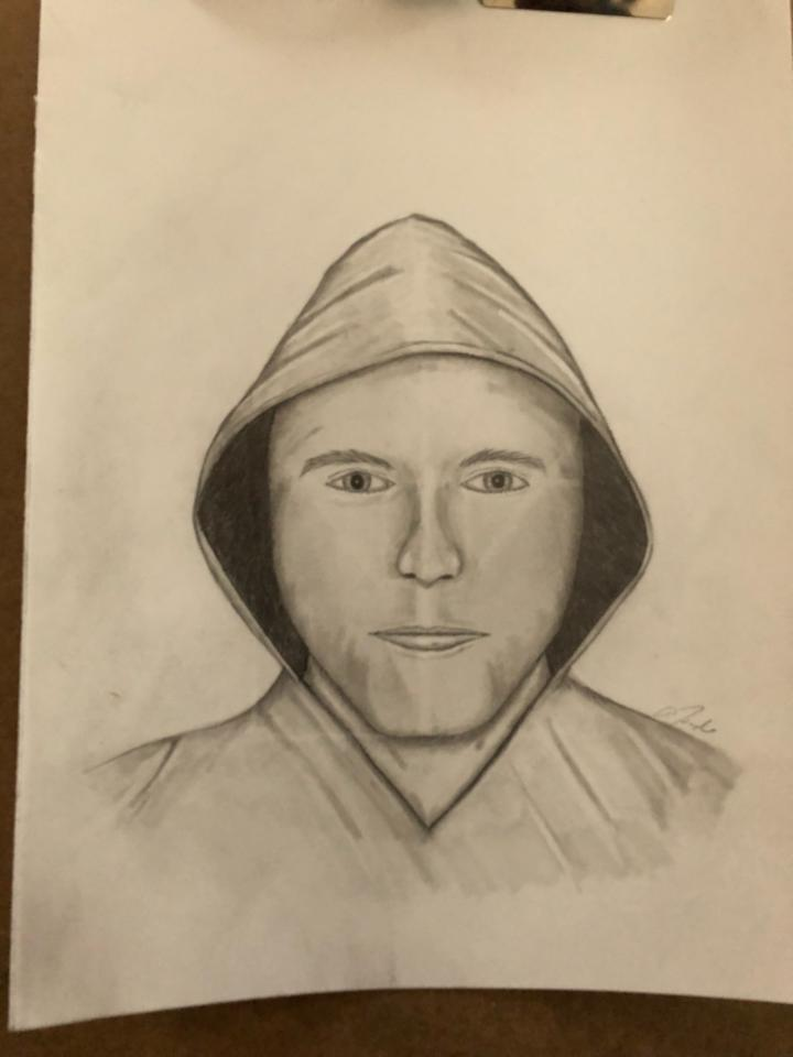 The Lincoln County Sheriff's Office released this sketch of the suspect in a home invasion in Nobleboro on Monday.