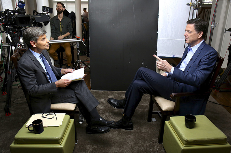 "ABC News correspondent George Stephanopoulos, left, appears with former FBI director James Comey for a taped interview that is airing during a primetime ""20/20"" special on Sunday."