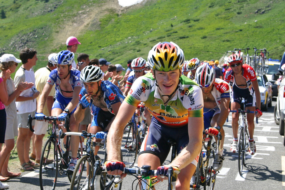 Lance Armstrong rides in the 2005 Tour de France near Axe-les-Thermes. In 2012 he was stripped of his seven Tour de France titles and barred for life from Olympic sports.