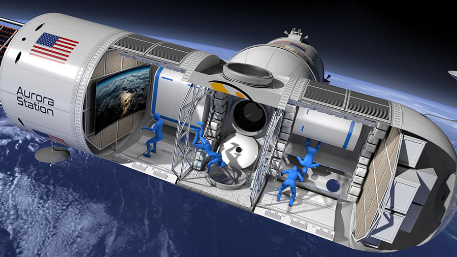 Aurora Station is planned as a 35-by-14-foot module, or roughly the interior volume of a Gulfstream G550 private jet, according to Bunger. The station would accommodate as many as four guests, plus the two crew.