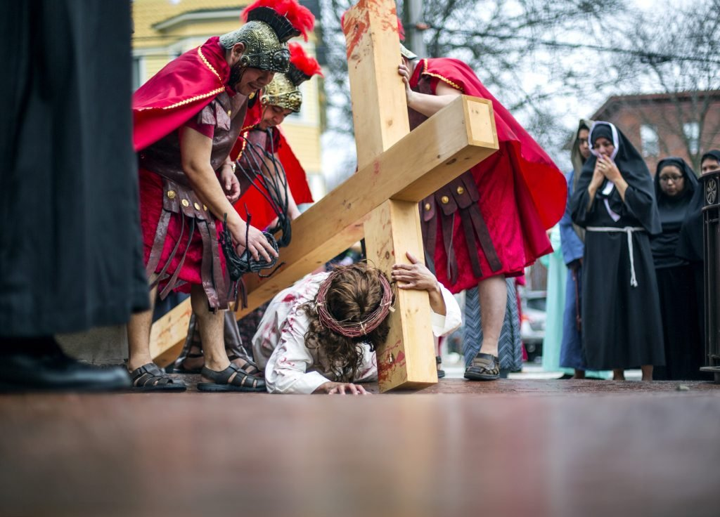 PORTLAND, ME - MARCH 30: Renactment of Stations of the Cross at Sacred Heart Church in Portland on Friday, March 30, 2018. In the Seventh Station Jesus falls for the second time.  (Photo by Derek Davis/Staff Photographer)