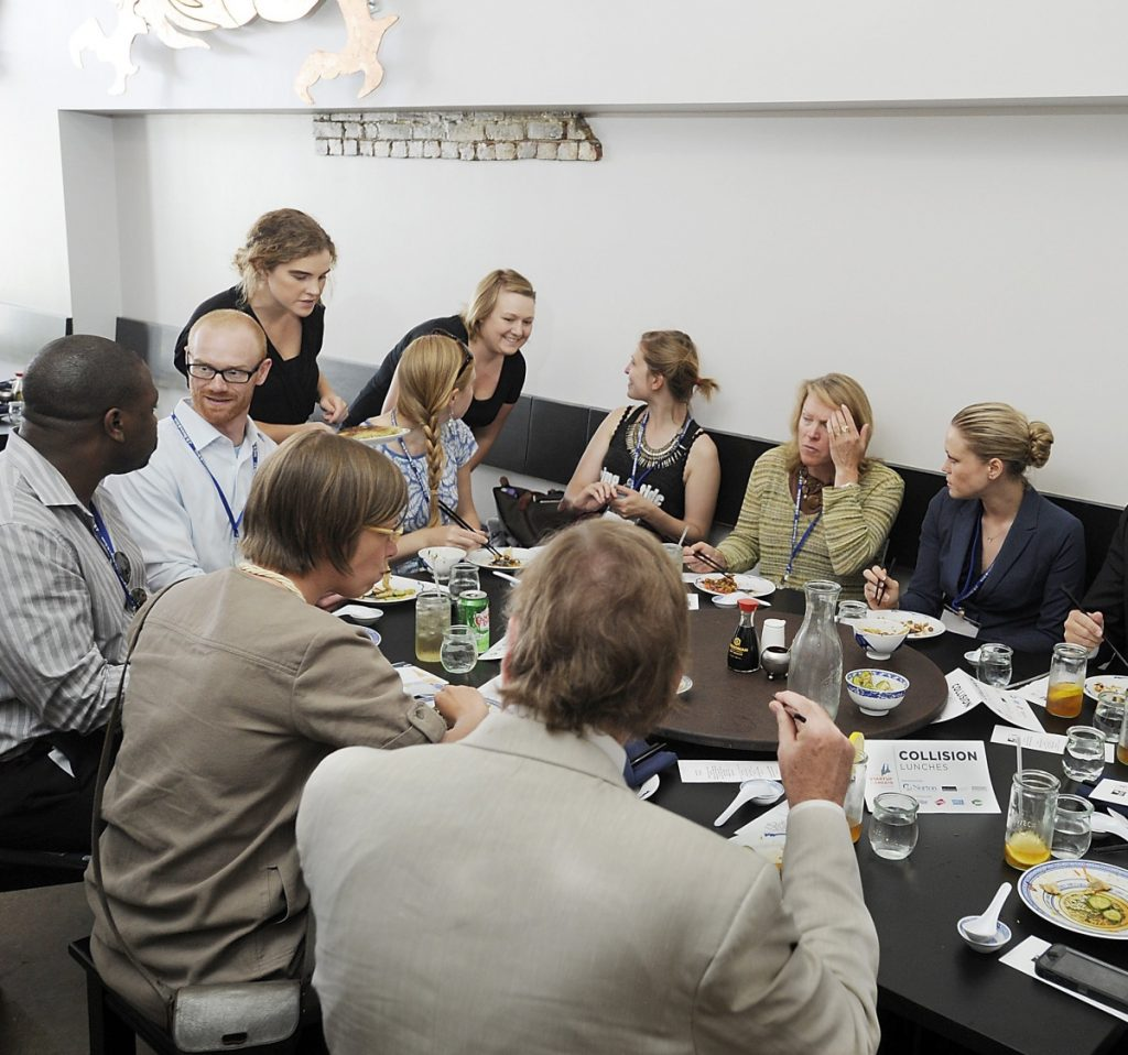 """Bao Bao restaurant hosts a """"Collision Lunch"""" to allow members of Maine's business community to meet each other and network during startup week in 2015."""