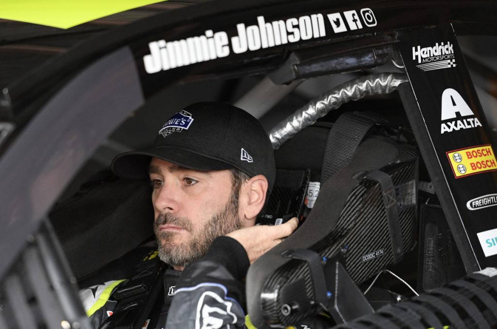 Jimmie Johnson gets ready before practice on Saturday at Dover International Speedway in Dover, Del.