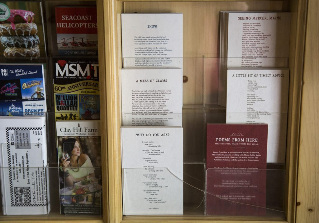Poem cards are displayed at the Meadowmere Resort in Ogunquit as part of a project of the Office of Tourism and the Maine Arts Commission. The poems come from a collection initiated by Stuart Kestenbaum, Maine's poet laureate.