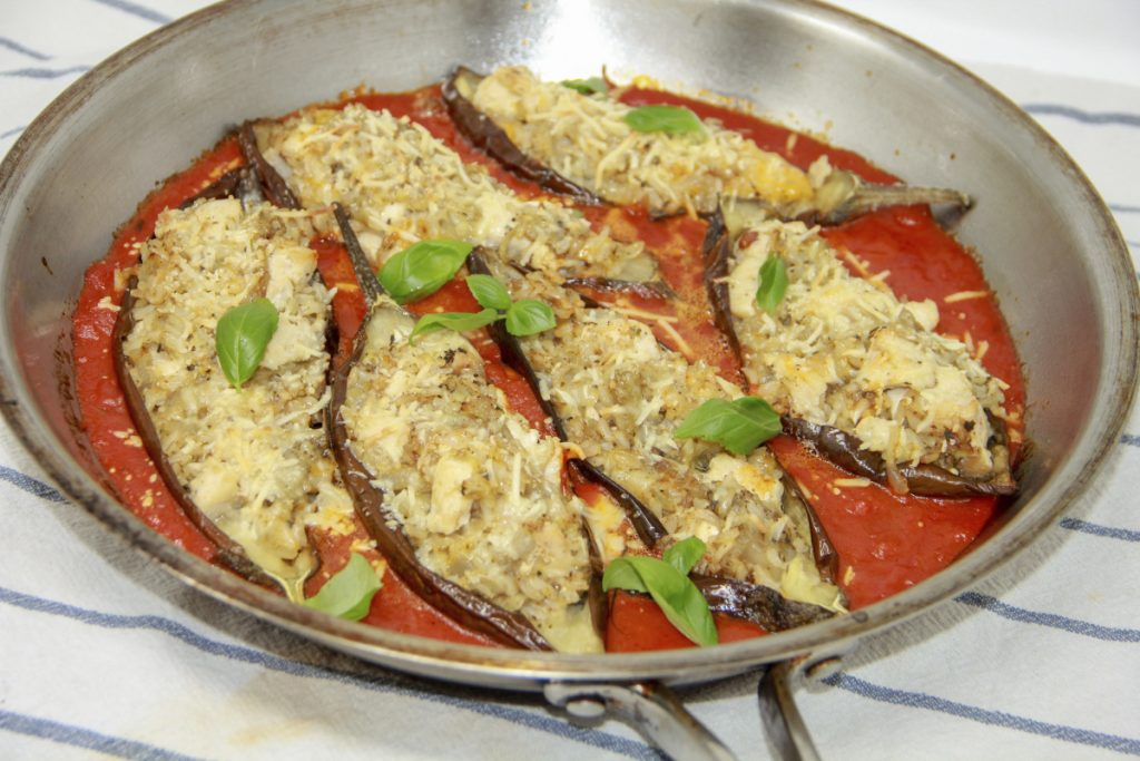 Roasting the eggplant makes it flavorful while keeping the fat content in check.