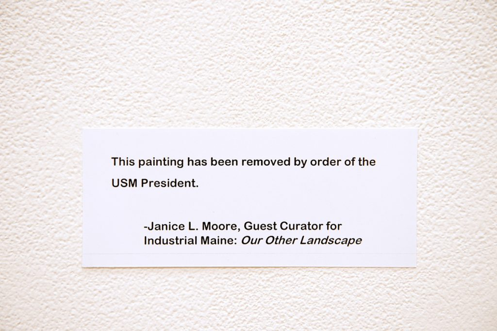 This message has replaced each of the three paintings by Bruce Habowski at a campus art show in Lewiston. The show's curator says USM's decision is an act of censorship, but her criticism is misplaced.