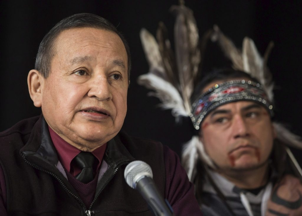 """Stewart Phillip, left, Grand Chief of the Union of British Columbia Indian Chiefs, expresses his opposition last month to the pipeline project, citing the """"catastrophic"""" risks in would pose to Vancouver and its environs."""
