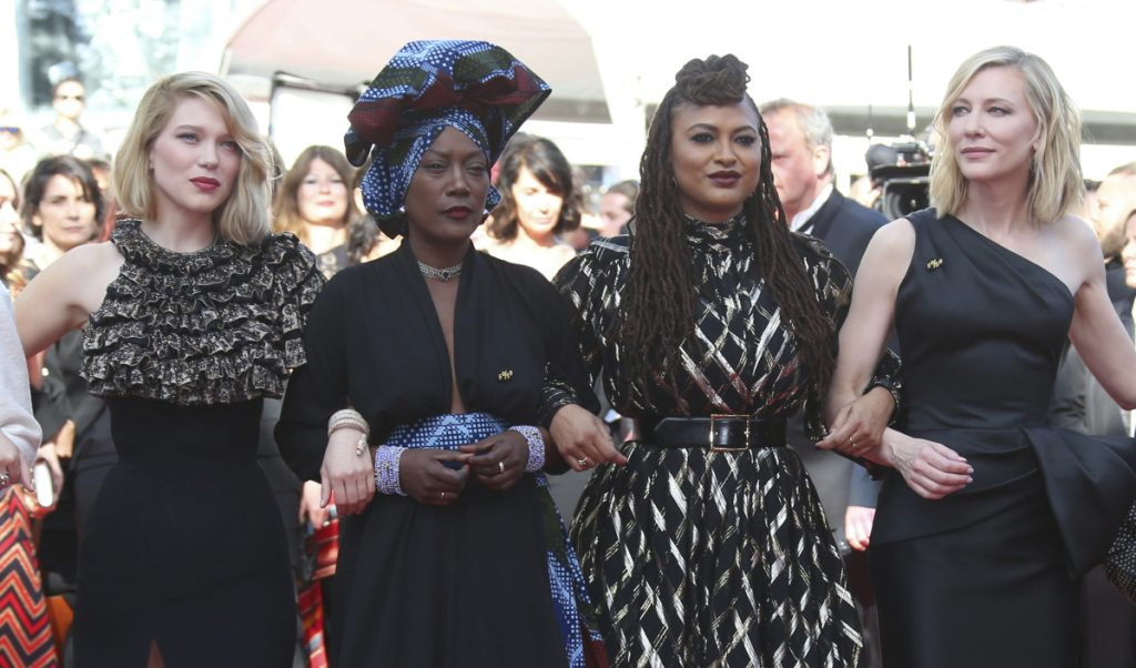 Jury members, from left, Lea Seydoux, Khadja Nin, Ava Duvernay and Cate Blanchett walk the red carpet at the Cannes Film Festival on Saturday.