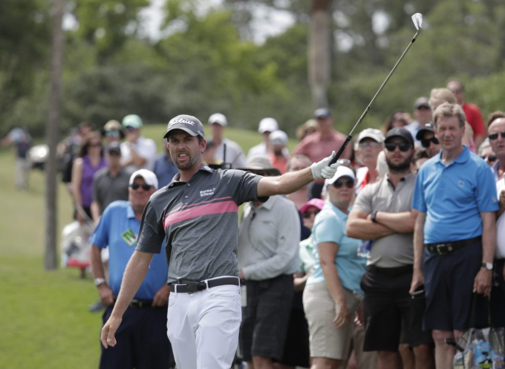 Webb Simpson shot a 4-under par 68 in the third round to stretch his lead at The Players Championship to seven shots Saturday in Ponte Vedra Beach, Fla.