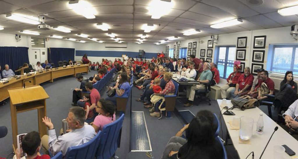 More than 100 Westbrook teachers staged a demonstration at a school committee meeting in May to call for a new contract.