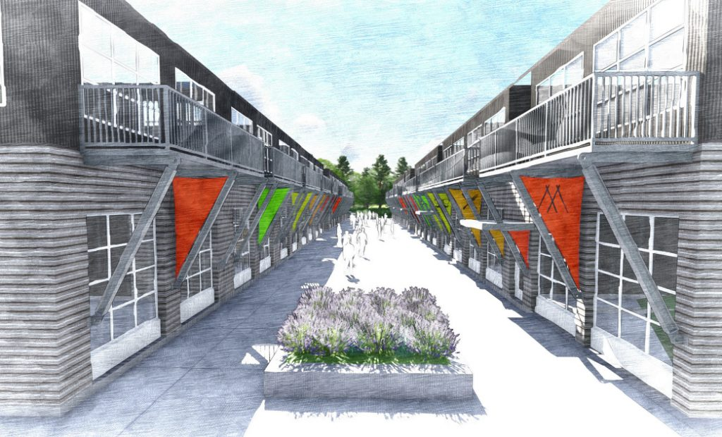 Plans call for two sets of two-story buildings flanking a shared plaza. The live-work spaces would have 12-foot ceilings with overhead doors on the first floor and living space in the loft.