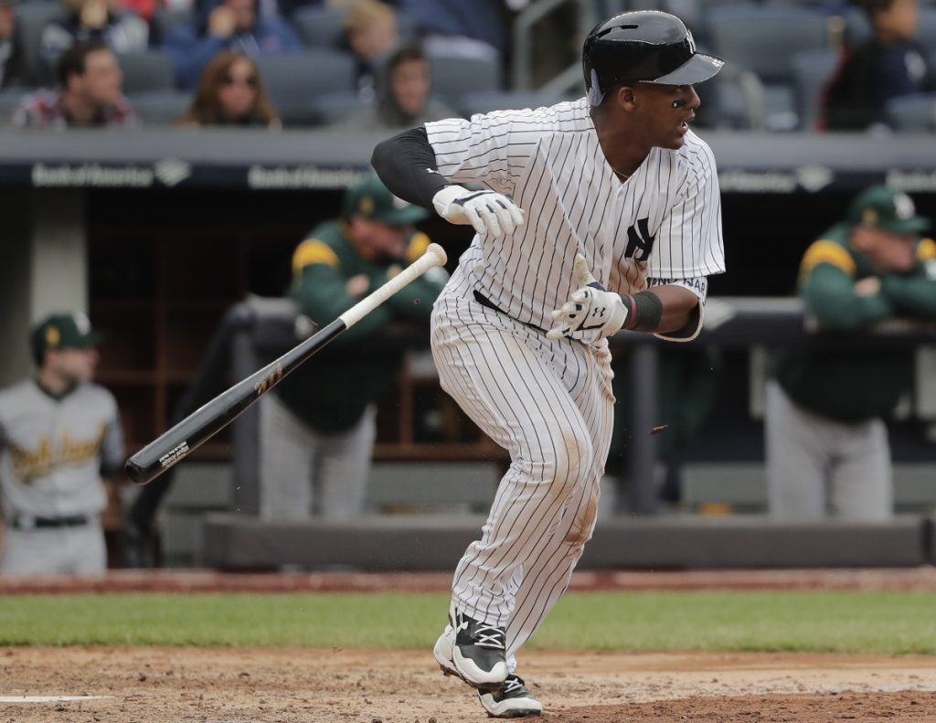 Miguel Andujar, who has had a hot start with the New York Yankees, will remain the third baseman with Brandon Drury sent to Triple-A following his injury rehab.
