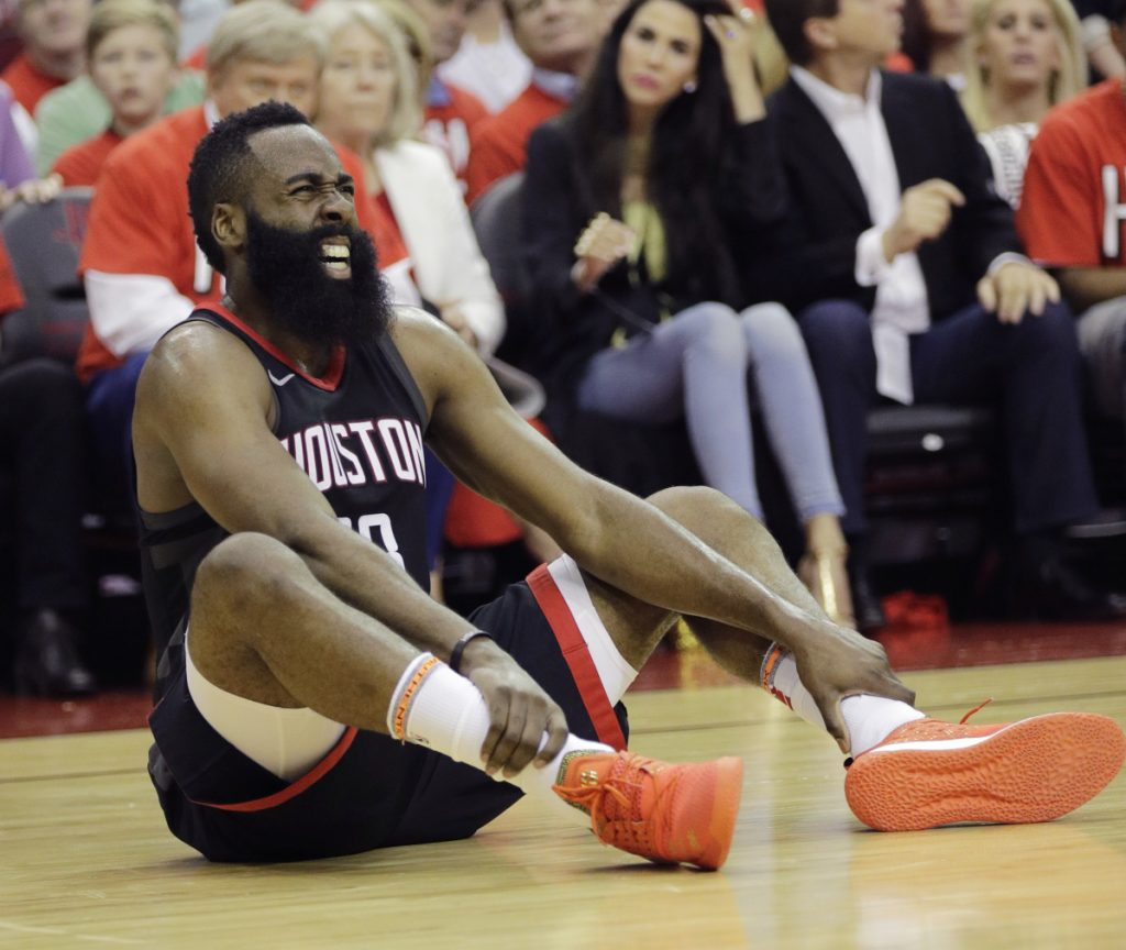 Houston's James Harden scored 41 points in the Western Conference finals opener against Golden State Monday night despite getting injured in the first half.