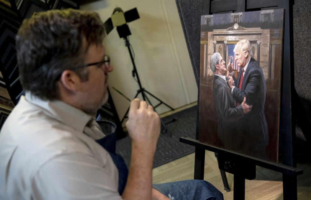 "Jon McNaughton with his latest work, ""Expose the Truth."" The Utah artist has become the most famous pro-Trump painter in the country. Washington Post/Kim Raff"