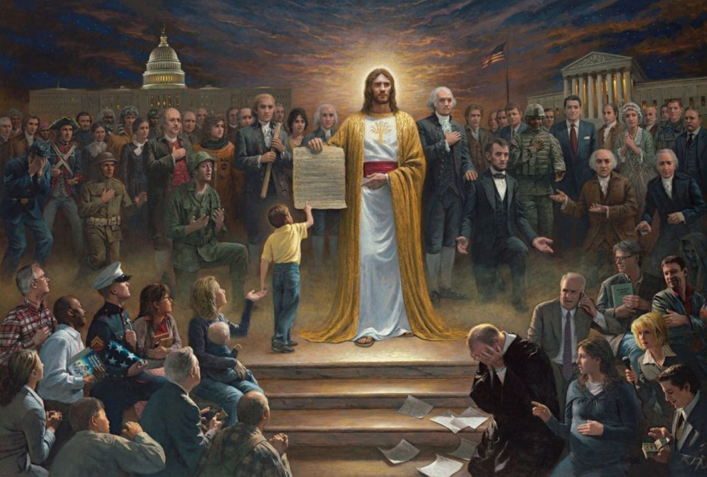 "Utah artist Jon McNaughton started painting landscapes, but then transitioned to political art after the 2008 presidential election. ""One Nation Under God,"" above, is one of Jon McNaughton's earliest works, featuring Jesus Christ with a copy of the Constitution. At left, McNaughton works on a piece called ""Expose the Truth."" He says customers often include personal notes of appreciation with orders."