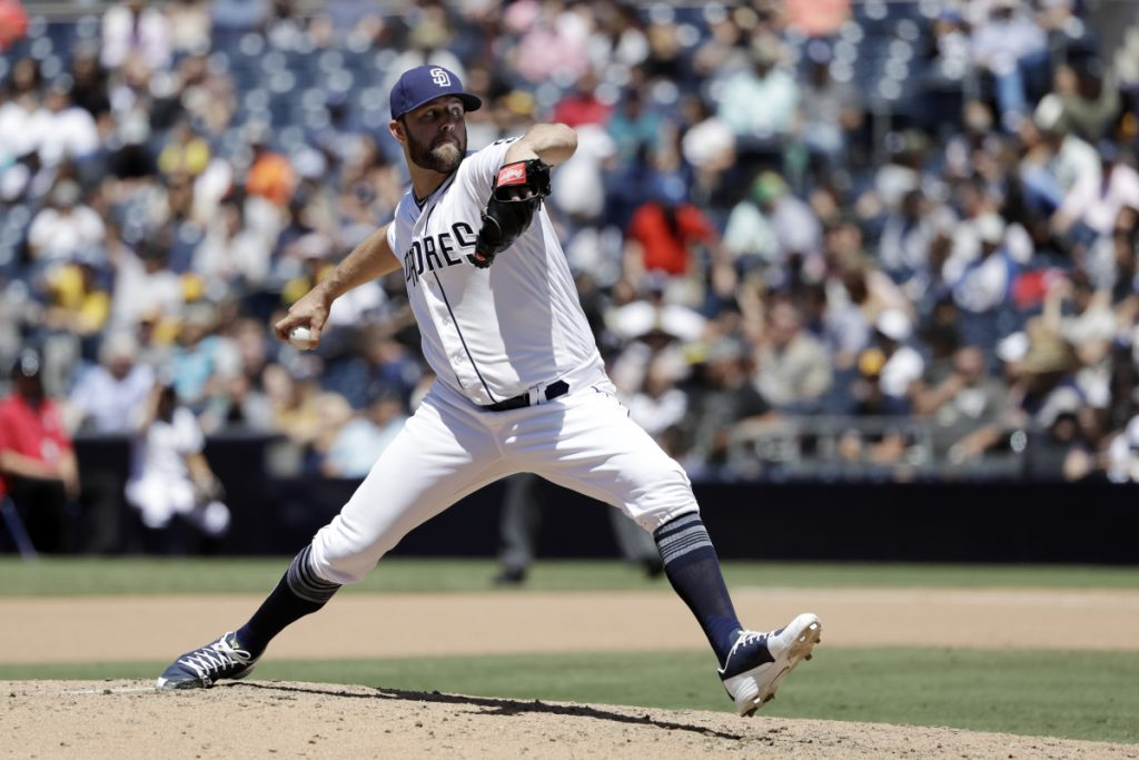 San Diego pitcher Jordan Lyles delivers against Colorado on in San Diego.
