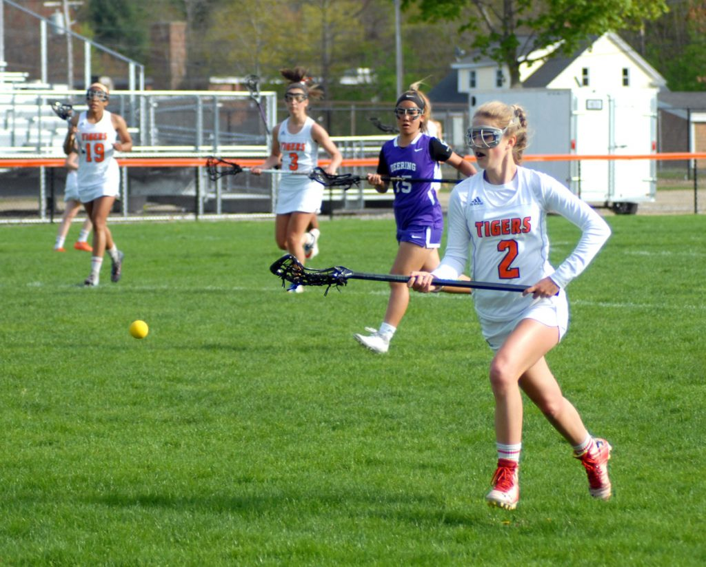 Biddeford junior Paige Laverriere chases down a loose ball during Wednesday's game against Deering at Waterhouse Field in Biddeford.