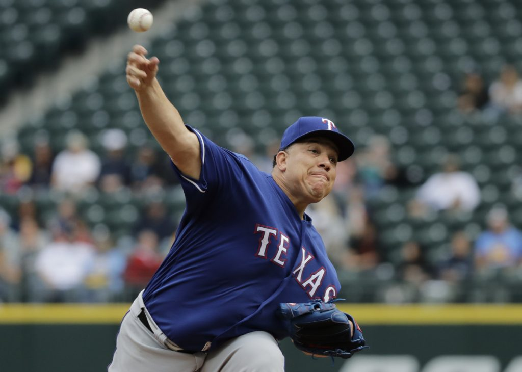 Texas Rangers starter Bartolo Colon beat the Mariners 2-1 on Wednesday, allowing four hits in 7  shutout innings in Seattle. Colon is 2-1 this season as he nears the age of 45.
