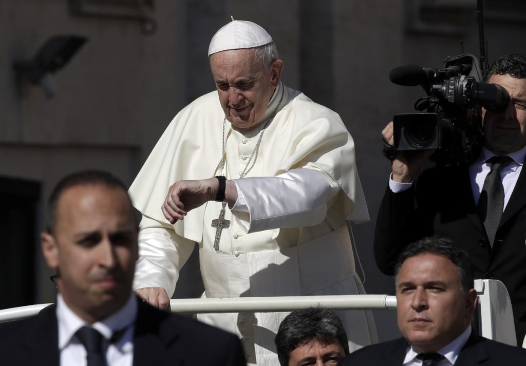 Pope Francis arrives for his weekly general audience in St. Peter's Square at the Vatican, Wednesday. Chileans are expecting resignations after the Pope's summit.