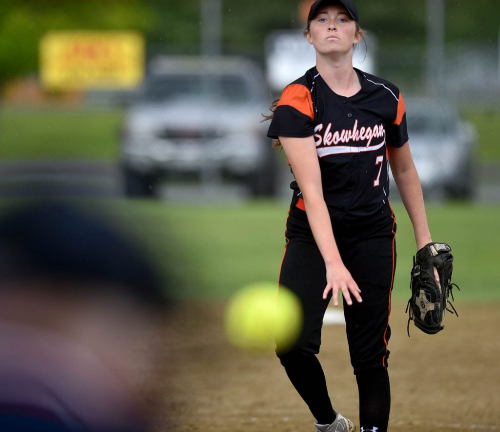 Skowhegan pitcher Ashley Alward (7) delivers a pitch to an Edward Little High School batter last season in Skowhegan