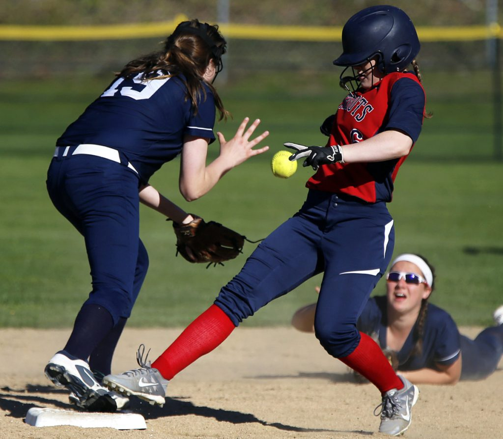 Alexa Thayer of Gray-New Gloucester beats a throw from Lydia Guay to Margaret McNeil of Yarmouth at second base Friday during Gray-New Gloucester's 5-1 victory.