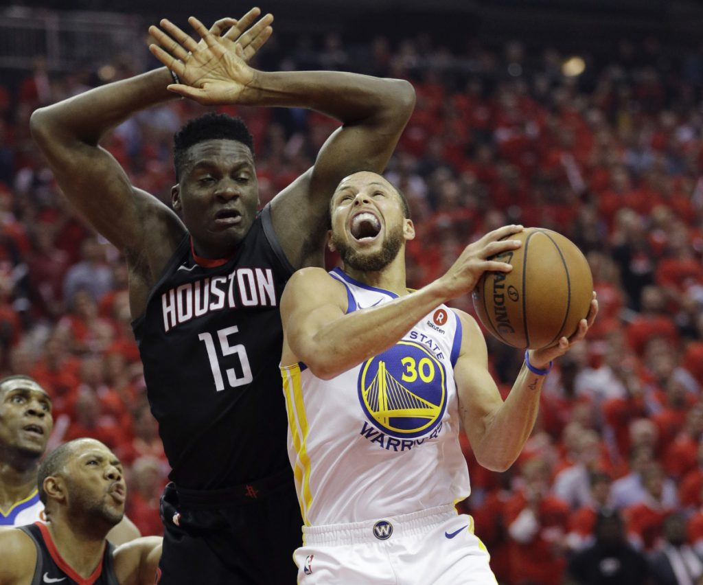 Stephen Curry, feeling pressure from Houston's Clint Capela in Golden State's Game 2 loss on Wednesday, was 1 for 8 from 3-point range and scored just 16 points.