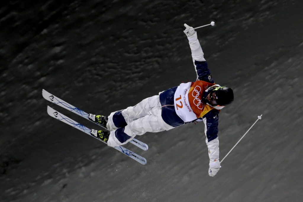 Troy Murphy jumps during the men's moguls qualifying at Phoenix Snow Park at the 2018 Winter Olympics in Pyeongchang, South Korea, on Feb. 12. (AP Photo/Lee Jin-man)