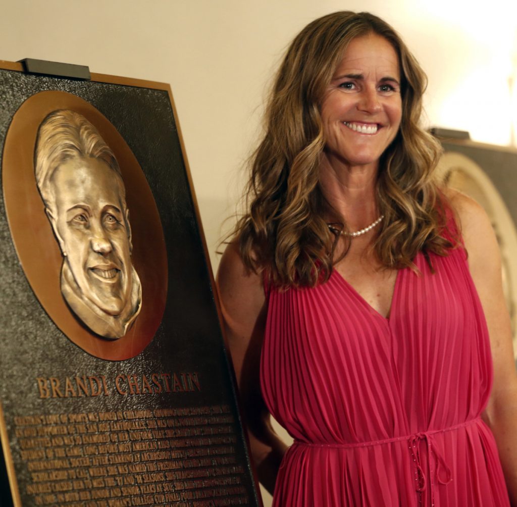 """Bay Area Sports Hall of Fame inductee Brandi Chastain kindly said of her honorary plaque Tuesday: """"It's not the most flattering. But it's nice."""" The Hall of Fame president will redo the piece."""