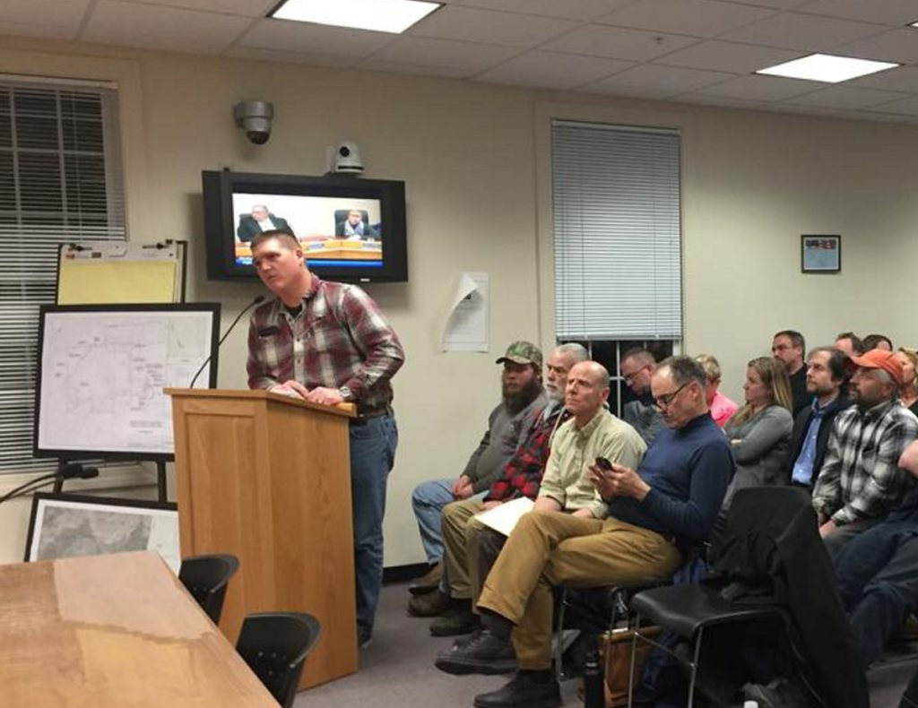 Randy Copp addresses the Windham Town Council in April about his plans to build a quarry near Forest Lake.