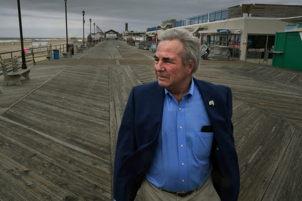 Asbury Park, N.J., Mayor John Moor walks on the city's boardwalk. He was among those who lobbied for a state law that prohibits oil exploration in waters up to 3 miles from shore and bucks the Trump administration's push.