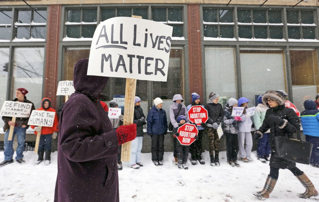 Abortion opponents rally outside Planned Parenthood in Portland in 2017. A reader says a new Title X proposal would not bar family planning services from discussing abortion with a pregnant woman.