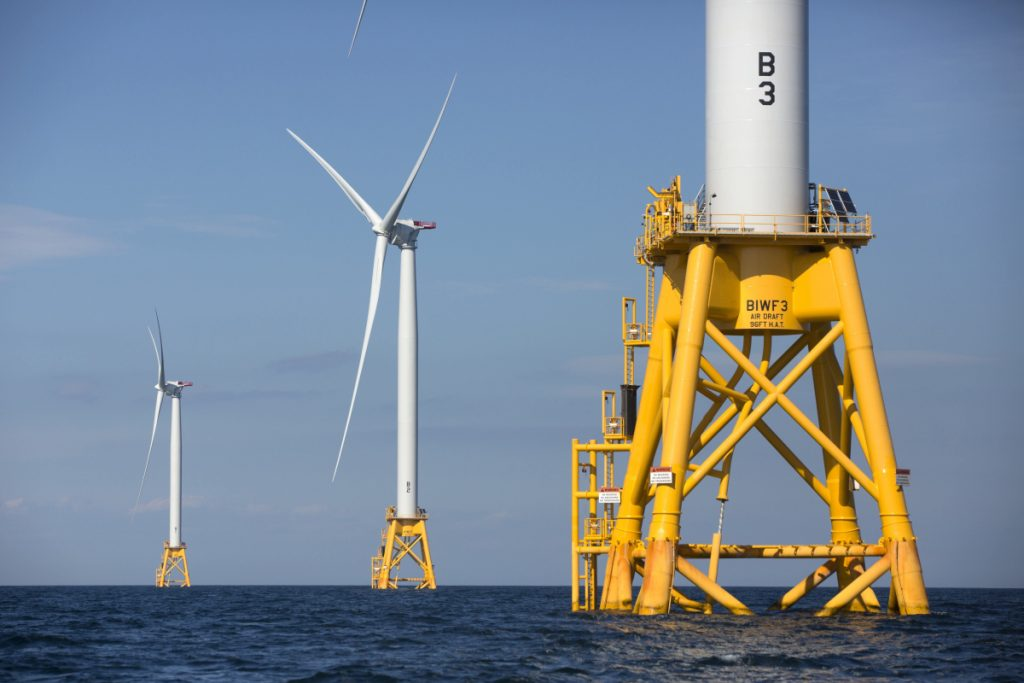 Deepwater Wind turbines stand off Block Island, R.I., in 2016. The company plans a 400-megawatt wind farm that will be 10 times the size of the nation's first offshore wind farm.