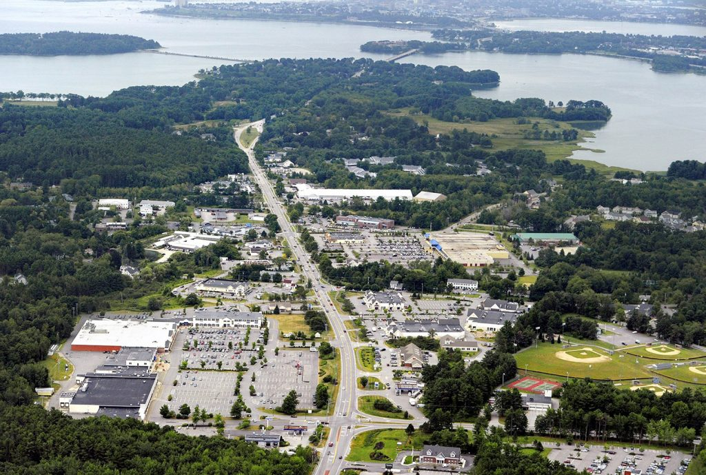 An aerial view of the Falmouth business district in 2012.