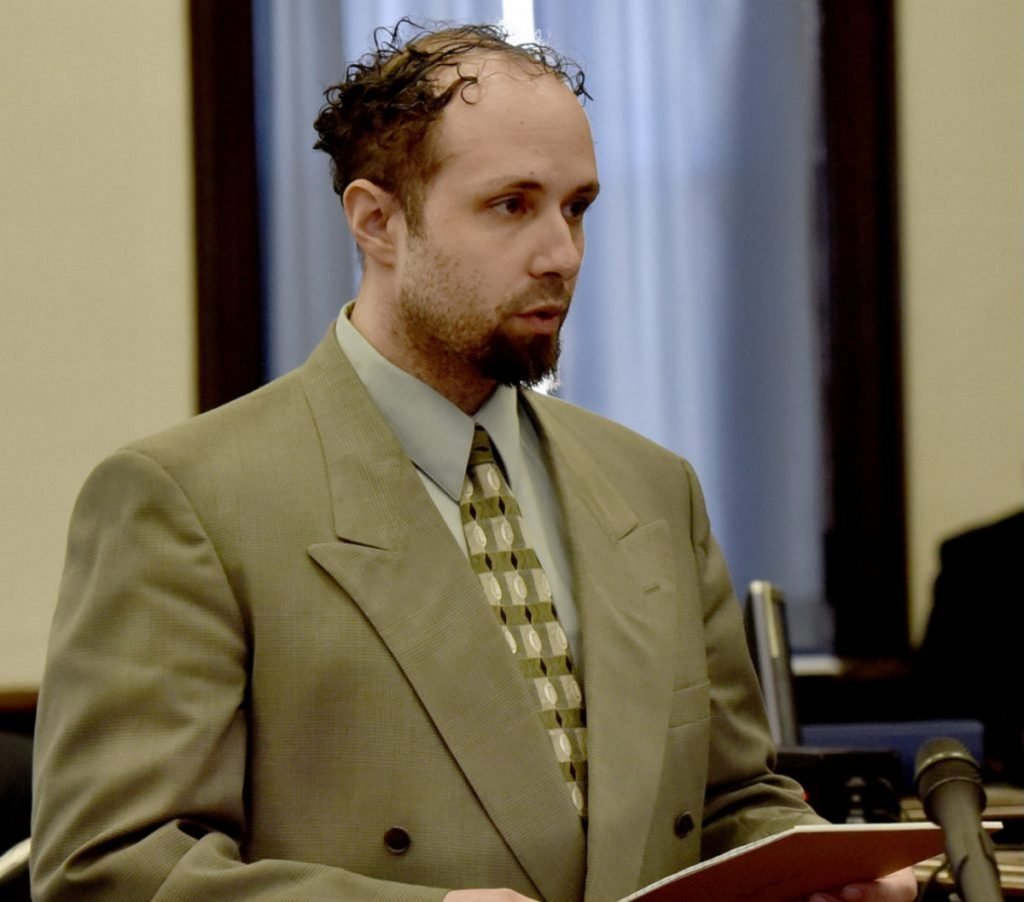 Luc Tieman looks directly at the jury while giving closing statements in his trial for the murder of his wife, Valerie Tieman, in Somerset County Superior Court in Skowhegan on April 9. The jury forewoman, Rose Gray, said Tieman