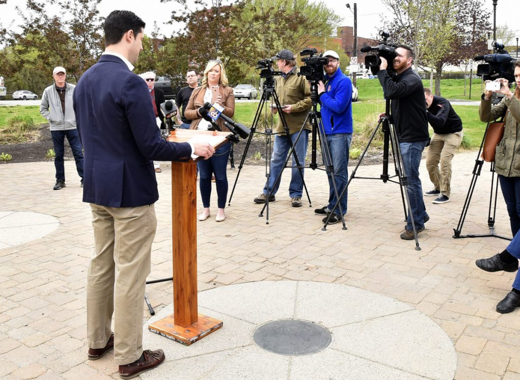 Waterville Mayor Nick Isgro holds a news conference Monday in Waterville, where he made a statement that city councilors were working behind the scenes to craft a budget that would hike property taxes 13 percent, a comment City Manager Mike Roy and Councilor Steve Soule called false.