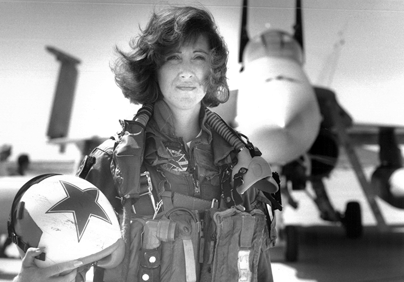 Lt. Tammie Jo Shults, one of the first women to fly Navy tactical aircraft, poses in front of an F/A-18A with Tactical Electronics Warfare Squadron (VAQ) 34 in 1992.