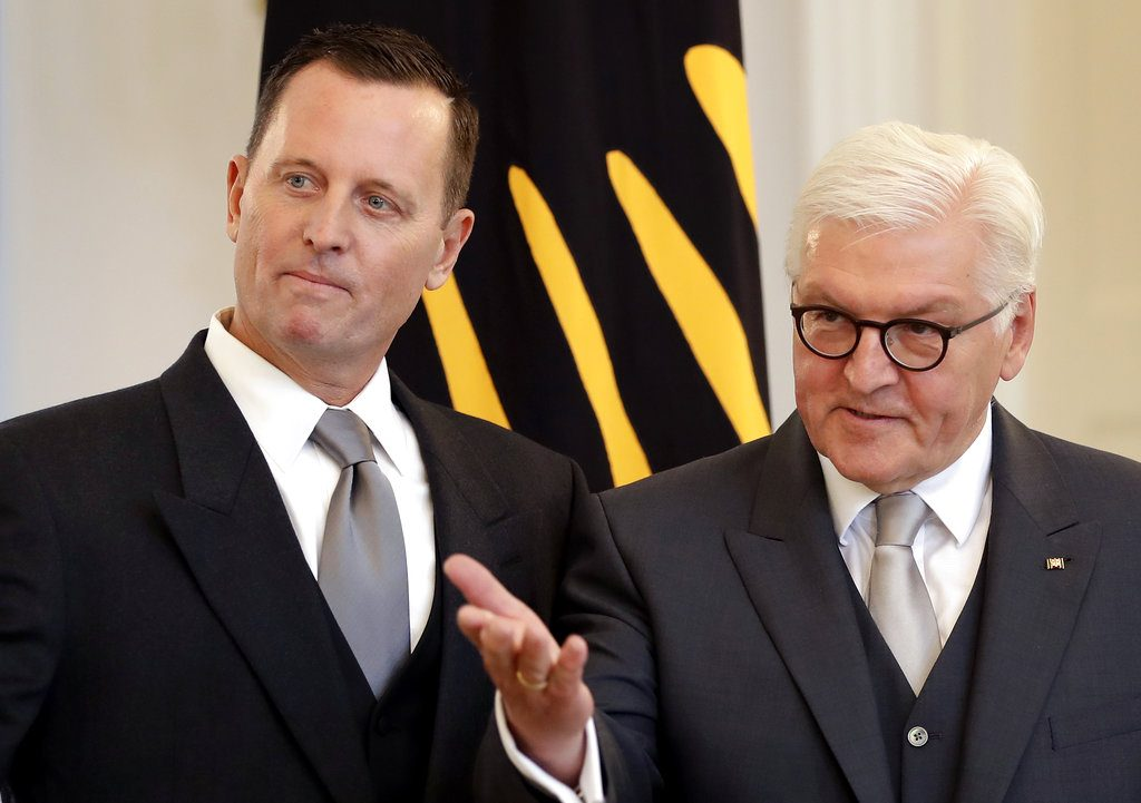 German President Frank-Walter Steinmeier, right, takes part in  the accreditation ceremony for the U.S. ambassador to Germany, Richard Allen Grenell, at the Belevue palace in Berlin, Tuesday.