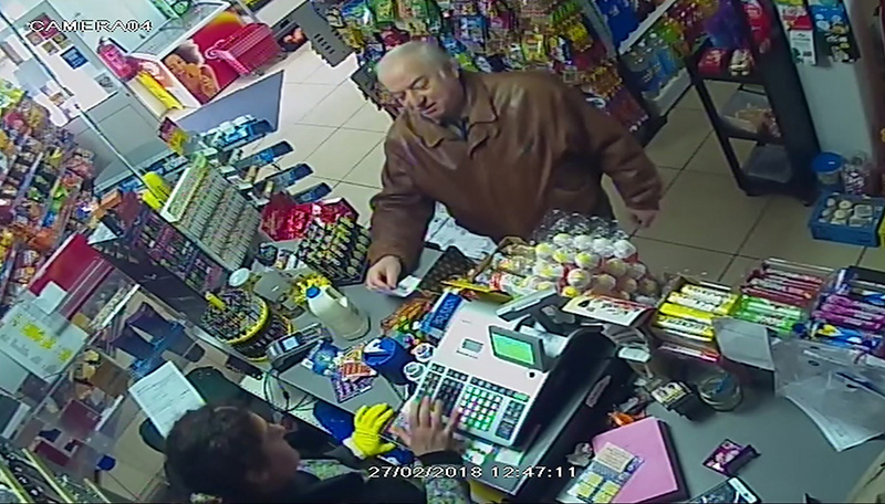 A still from a CCTV video showing former spy Sergei Skripal at a store in Salisbury, England a few days before the nerve agent attack.
