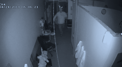 Two burglars are seen on security video entering a Gorham business on April 24.