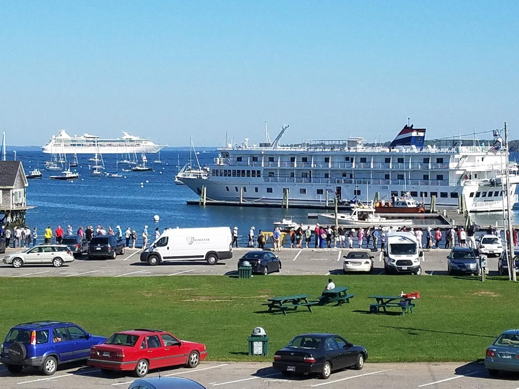 Cruise ships occupy Rockland Harbor in 2017. A group presented the City Council with a petition calling for regulation of the largest cruise ships.
