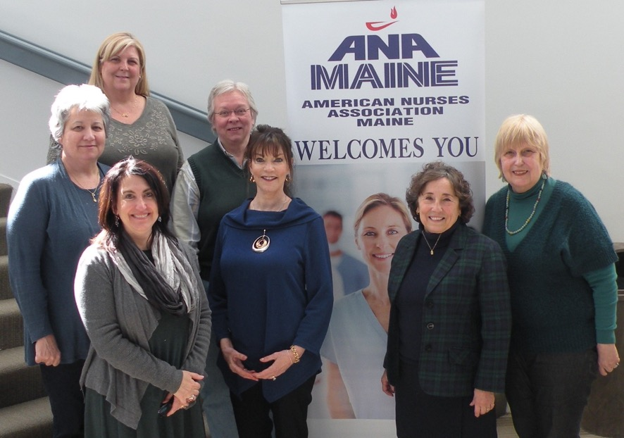 Maine ANA board members: Beth Kessler, MSN, RN, secretary; second row; Joanne Chapman, MSN, M.Ed, RN, NE-BC, director; Carla Randall, Ph.D, RN, CNE, director; front row; Michelle Schweitzer, director of business administration; Catherine Lorello-Snow, RN, PMHRN-BC, president; Jean Dyer, PhD, MSN, BSN, CNE, executive director; and Juliana L'Heureux, MHSA, BS, RN, secretary.   Missing from the photo are Robert Abel, MSN, RN, CHPH, CCM, CMC, president-elect; Paula Delahanty, RN, BSN, MHSA, director; and Amander Wotton, MSN, BSN, RN, director.