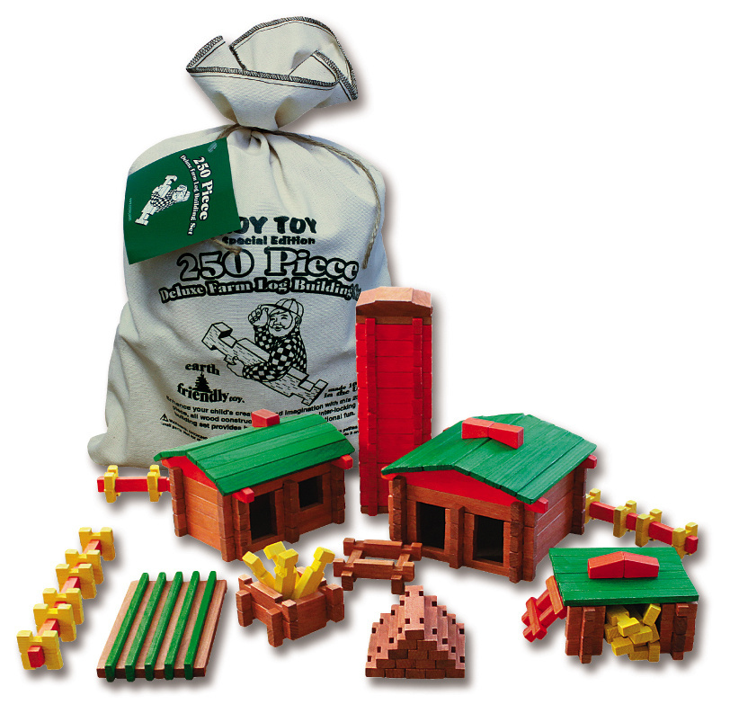 The log building sets are meant for ages 3 and up, and the sets work together – so a zealous builder could construct a whole town.