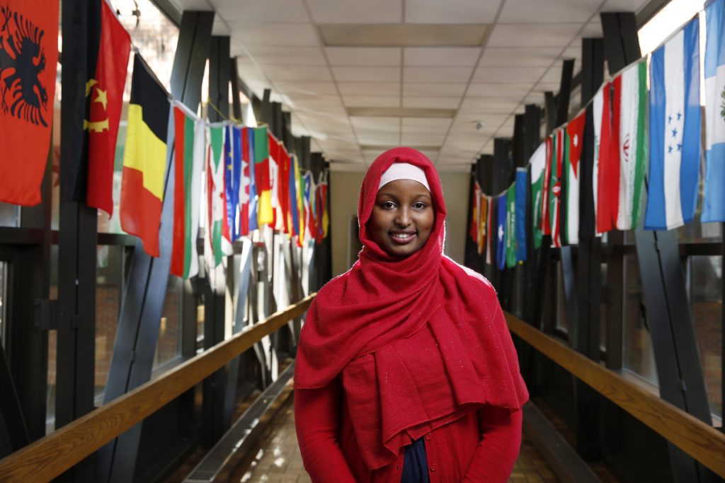 "Among other activities, Mulki Hagi, a Somali immigrant, organized a multicultural youth summit at Deering High School to address a wide range of social issues. ""I chose subjects that would resonate with everyone,"" she said."